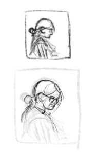 Thumbnail drawings of the portrait.